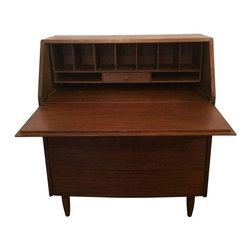 Restored Mid-Century Modern Secretary - Need a refreshed work space? This restored secretary is sure to inspire you! Plenty of compartments for organizing your tools of the trade, as well as three drawers below the desk for additional storage.  Condition details: good vintage condition, some scratches and marks on the legs.