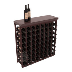 """Tasting Table Wine Rack Kit + Butcher Block Top in Redwood with Walnut Stain - The quintessential wine cellar bar; this wooden wine rack is a perfect way to create discrete wine storage in shallow areas. Customize with LEDs. Includes a 35"""" culinary grade Butcher's Block top. Marble and granite are also popular methods to create intimate tasting tables. We build this rack to our industry leading standards and your satisfaction is guaranteed."""