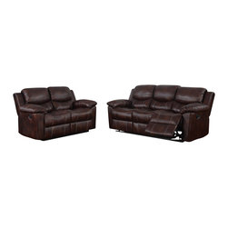 Global Furniture USA - U8122 Burgundy Bonded Leather Three Piece Sofa Set With Built-in Recliners - The U8122 sofa set has a traditional look with a modern design that works well in any decor. This sofa set comes upholstered in a stunning burgundy bonded leather in the front where your body touches. Carefully chosen match material is used on the back and sides where contact is minimal. High density foam is used within the cushions for added comfort. The sofa set features built-in recliners on each piece for that added touch of relaxation. The sofa set includes a sofa, and chair only.