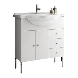 ACF - 32 Inch Vanity Cabinet With Fitted Sink - Set Includes: Vanity Cabinet (2 Doors,3 Drawers).