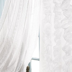"Amity Home - Amity Home Each Julianna Ruffled Curtain, 42""W x 108""L - White on white provides a perfect canvas for a play of textures and subtle patterns in this collection of bed linens. Imported. Pieced duvet covers and accessories have netting insets. Ruffled dust skirts have an 18"" drop. Curtains with vertical ru..."