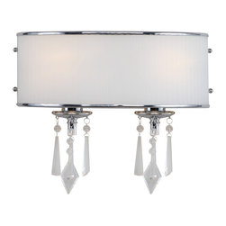 Golden Lighting - Echelon 2 Light Vanity - This stylish fixture for your bathroom features a crisp shade with pearl-shaped accents on the sides. Hanging from the fixture bases are eye- and light-catching glass adornments.