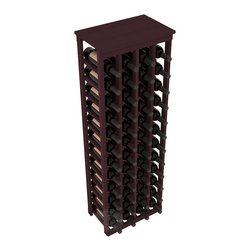"48 Bottle Kitchen Wine Rack in Redwood with Burgundy Stain - Store 4 complete cases of wine in less than 20"" of wall space. Just over 4 feet tall, this narrow wine rack fits perfectly in hallways, closets and other ""catch-all"" spaces in your home or den. The solid wood top serves as a shelf or table top for added convenience and storage of nick-nacks."