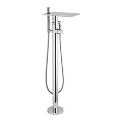 Hudson Reed - Modern Chrome Freestanding Waterfall Bath Filler Tub Faucet With Handsprayer - Provide those all important finishing touches to your freestanding tub with this freestanding waterfall bath shower mixer. With an eye-catching, contemporary design this freestanding waterfall bath shower mixer will add style and luxury to your bathroom. Combined with a single lever mixer and handheld shower head this is the perfect solution for your bath/shower mixer needs.