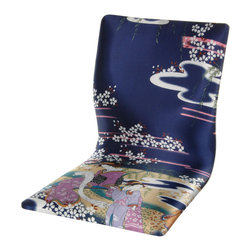 Oriental Furniture - Tatami Meditation Backrest Chair - Indigo Geisha - Hand crafted Japanese style tatami chair, traditionally used on tatami mat floors for meditation or study. Portable and comfortable, tatami chairs have become popular in the U.S. for their simple, sturdy Asian design as well as convenience for playing video games or television. Fine Japanese style printed fabric.