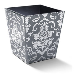 Frontgate - Victoria Damask Glass Wastebasket - Each piece features a felted bottom to protect your countertops. Classic damask pattern is achieved by screen-printing ceramic frit paint onto the back of mirrored glass. Canister, Tissue Cover and Soap Dispenser feature clear-mirrored tops for a contrasting look; Towel Tray and Soap Dish feature clear-mirrored sides. Canister has a removable lid with handle. Soap pump available in Chrome, Brass, and Brushed Nickel. Inspired by the regal wall coverings in the salons of Victorian estates, our exclusive Victoria Countertop Collection brings this timeless glamour to your bath. Silk-screened on the back of mirrored glass, the smoky gray damask pattern shimmers with drama on your countertops.  .  .  .  .  . Clean with a soft, damp cloth; flush Soap Dispenser pump periodically with water .