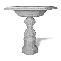 Amedeo Design, LLC - USA - English Bird Bath - This Bird Bath is the base to our complete Cherub Fountain. It can be used as a Bird Bath or simply as a Fountain. Though they look like ancient European & Mediterranean designs in carved stone, our products are made of lightweight weatherproof ResinStone. So authentic, you actually have to lift them to convince yourself they're not stone at all! Made in USA.