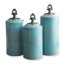 Jay Import Co. - Canisters, Set of 3, Blue - Give your dry goods an upgrade with this set of earthenware canisters. These artistically designed containers will bring beauty to any countertop, hiding away your rice and coffee while keeping it well within reach.