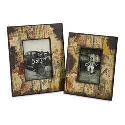 "IMAX CORPORATION - Journey Photo Frames - Set of 2 - This set of two frames feature a montage of memorabilia. Opening sizes 4"" x 6"" and 5"" x 7"". Shop home furnishings, decor, and accessories from Posh Urban Furnishings. Beautiful, stylish furniture and decor that will brighten your home instantly. Shop modern, traditional, vintage, and world designs."