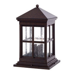 The Great Outdoors - The Great Outdoors GO 8567 Berkeley Collection Four Light Column Mount Lantern w - Berkeley Collection Four Light Column Mount Lantern with Seeded GlassTypical of the craftsman style with a clean square build, sloping roof, and visible architectural elements, this column mount lantern is an attractive way to greet visitors to your home.