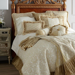 """Dian Austin Couture Home - Dian Austin Couture Home King Duvet Cover, 108"""" x 95"""" - Exclusively ours. The refined elegance of """"Champs Elysees"""" bedding begins with a French-inspired damasse (a weave similar to damask) with contrasting luster in the design. Made in the USA of imported fabrics in a French-vanilla hue. By Dian Austin Cou..."""