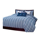 SIS Covers - SIS Covers Beachcomber Stripe Blue Duvet Set - 6 Piece Queen Duvet Set - 5 Piece Twin Duvet Set Duvet 67x88, 1 Std Sham 26x20, 1 16x16 dec pillow, 1 26x14 dec pillow. 6 Piece Full Duvet Set Duvet 86x88, 2 Std Shams 26x20, 1 16x16 dec pillow, 1 26x14 dec pillow. 6 Piece Queen Duvet Set Duvet 94x98, 2 Qn Shams 30x20, 1 16x16 dec pillow, 1 26x14 dec pillow. 6 Piece California King Duvet Set Duvet 104x100, 2 King Shams 36x20, 1 16x16 dec pillow, 1 26x14 dec pillow6 Piece King Duvet Set Duvet 104x98, 2 Kg Shams 36x20, 1 16x16 dec pillow, 1 26x14 dec pillow. Fabric Content 1 80 Polyester 20 Cotton. Guarantee Workmanship and materials for the life of the product. SIScovers cannot be responsible for normal fabric wear, sun damage, or damage caused by misuse. Care instructions Machine Wash. Features Reversible Duvet and Shams.