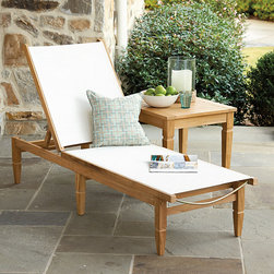 Ballard Designs - West Hampton Chaise - Coordinates with our West Hampton Chairs. Adjusts to 4 positions. Replacement sling available. Our West Hampton Chaise blends the beauty of natural teak with the cool convenience of our Quick-Dry Mesh, creating a modern classic. Off-White mesh is woven from strong polyester yarns that can stand up to harsh sun, while allowing water and air to flow through. If left untreated, teak finish will mellow to a warm silvery gray over time. West Hampton Chaise features: . . .