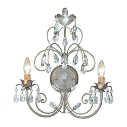 Crystorama Lighting - Crystorama Lighting 4922-SL Victoria Transitional / Eclectic Sconce - Crystorama Lighting 4922-SL Victoria Transitional / Eclectic Sconce in Silver Leaf with Swarovski Spectra Crystal