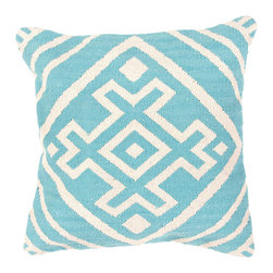 """Jaipur Rugs - Blue/Ivory color cotton cad02 pillow poly fill pillow 18""""X18"""" - Hand woven from 100% cotton the Cadiz pillow collection offers a range of open geometrics in bold color combinations. The collection coordinates with Jaipur Maroc and Urban bungalow flat weave rugs."""