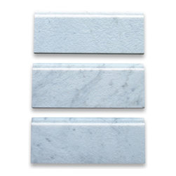"""Stone Center Online - Carrara White 5 x 12 Baseboard Trim Molding Tumbled - Marble from Italy - Premium Grade Carrara Marble Italian White Bianco Carrera Tumbled 5x12"""" Base Board Wall & Floor Tiles are perfect for any interior/exterior projects such as kitchen backsplash, bathroom flooring, shower surround, window sill, dining room, hall, etc. Our large selection of coordinating products is available and includes hexagon, herringbone, basketweave mosaics, field, subway tiles, borders, chair rails, and more."""