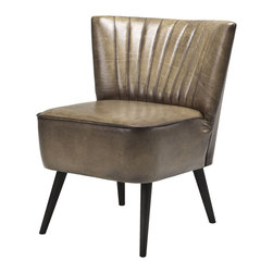 Eichholtz Oroa - Chair Allstar - Olive light leather and black lacquered wood legs