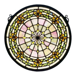 """Meyda - 13"""" Round Fleur-De-Lis Medallion Stained Glass Window - A meyda tiffany original design, the fleur-de-lismedallion window is an intricate design of goldentri-petaled irises and jewels against twilight andbeige bands. Reminiscent of castle and cathedralwindows, this pattern holds a prominent place in frenchheraldry. Handcrafted utilizing the copperfoilconstruction process and 296 pieces of stained artglass and 24 amber glass jewels encased in a solidbrass frame. Mounting bracket and jack chain areincluded."""