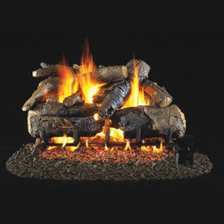 Real Fyre Charred American Oak Vented Gas Log Set - With all the charm of a Saturday Evening Post, the Real Fyre Charred American Oak Vented Gas Log Set helps turn your house into a home. With the ability of the designers and artisans to replicate the look of natural wood textures and colors, because of the reliability of the molded-ceramic medium, these logs will help your fireplace look positively Rockwellian. The silica sand and platinum embers also add an extra touch of believability. And unlike real logs, this set doesn't create an ashy mess or require constant trips out in the cold to replenish your supply. The refractory-ceramic construction, along with their steel-rod inserts, ensures the maximum strength of these logs even at high temperatures. And even after the burner has been turned off, the ceramic logs continue to produce radiant heat, helping you to save on energy while maintaining that cozy atmosphere. With three sizes available, one is sure to fit your fireplace perfectly. Minimum fireplace sizes: 18-inch insert: 30W x 14D in. 24-inch insert: 34W x 14D in. 30-inch insert: 40W x 14D in. Note: It is recommended that you use a professional installer to ensure the safety of the exhaust system. A licensed contractor should be contacted for installation of all products involving gas lines. About Real FyreReal Fyre understands more about the amazing things that happen when flame and good food meet. For the last 70 years, they've set out to create the singularly best way to cook food outdoors, using the highest-quality materials, innovative design, and an absolutely relentless pursuit of perfection. With a complete line of luxury-grade grills, burners, accessories, and built-in grill island components, Real Fyre is ready to turn your home into the world's best outdoor kitchen.