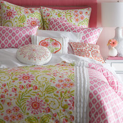 "Dena Home - Dena Home 14"" Round Embroidered Pillow - Pink, green, and white cotton bed linens in floral and ikat patterns are sweetly accented with white-ribbon-beading and embroidered pillows. From Dena Home. Comforters and pillows have a polyester fill. White dust skirt has an 18"" drop and split corn..."