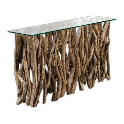 Uttermost - Uttermost 25593  Teak Wood Console - Reclaimed teak wood, crafted from its natural form into an artistic and precisely honed sculpture beneath clear glass.
