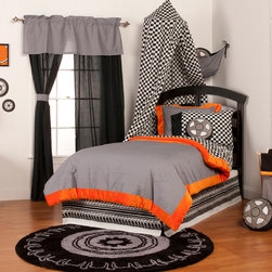 "Teyo's Tires - Full Set (4pc no sheets) - Live in the fast lane with ""Teyo's Tires""!  Ready, set and go into a room full of action in every way!  Brave black racing through streets of grey and orange create all sorts of traffic throughout this enticing collection. This 4pc set includes full comforter, full bed skirt, 2 standard flanged pillow shams.   Teyo's Tires comforter is reversible so depending on your style you can add a lot of detail or a little.  Comforter comes in our designer ""Sheet Metal"" cotton print fabric framed with our signature orange minky fabric.  Opposite side in ""Checkered Flag"" cotton print fabric also framed in our vibrant orange minky fabric.  Bed skirt races onward with this collections ""Tire Tracks"" cotton print fabric.  Standard flanged sham it outrageous in appearance with it's ""Sheet Metal"" fabric with flange trim of orange minky fabric.  SAVE WHEN YOU BUY AS A SET!"