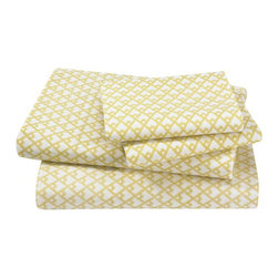 Dwell Studio Masala Citrine Sheet Set - A subtly ethnic pattern designed to coordinate in a soft buttery hue. 400 thread count cotton percale. Sheet set includes flat sheet, fitted sheet and two french-back cases. Made in Portugal.