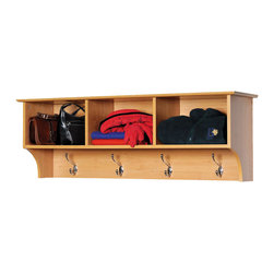 Prepac - Prepac Sonoma Maple Entryway Cubbie Shelf - Keep your gloves, hats, coats and jackets together where you need them with the Entryway Cubbie Shelf. Perfect for any front hallway, mudroom or home office, it's three compartments have room for everything from mittens to schoolbooks. Four large hooks provide sturdy storage for your outerwear, scarves and tote bags. Install it easily with our innovative hanging rail system and get the versatile entryway piece you've been missing.