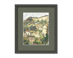 UC BERKELEY HILLS in 1936 Watercolor Painting, Framed 1 - Framed: 20 x 23.5 inches