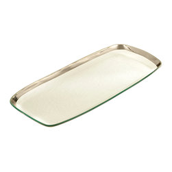 """Annieglass - Large Serving Platter W/ Platinum Rim - Roman - Annieglass handmade Roman Antique collection large rectangular platter in platinum trim. Chip resistant, safe for dining, dishwasher safe and highly durable. Handmade glass 20 x 9 1/2"""" large rec. platter produced in the U.S.A. Durable, chip-resistant and dishwasher safe. Banded with genuine platinum. Each Annieglass piece is handmade from architectural quality glass with Annie Morhauser's trademark slumping process  which is a uniquely developed glass bending technique. Each piece is highly durable, dishwasher safe, chip resistant, and safe for dining."""