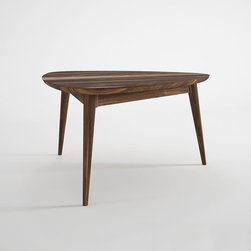 Tri-Atomic Coffee Table - This table radiates up from your flooring to an oblong surface with room to entertain. Its solid hardwood construction and vintage-inspired design blends mid-century and rustic inspirations to suit your stylish, modern home.