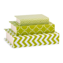 Chevron Graphic Geometric Design Essentials Book Boxes - Green - *These book boxes, part of the Green Apple collection from Essentials by Connie Post, are perfect for storing small items on a desk or shelf, and their bold patterns and color are a striking addition to your decor.