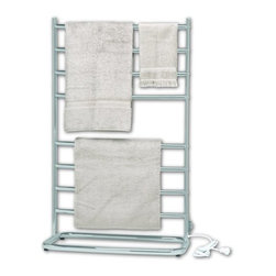 Jerdon WHS Warmrails Hyde Park Family Size Floor Standing Towel Warmer, 39-Inch - The Warmrails WHS Hyde Park Floor Standing Towel Warmer is ideal for bathrooms, locker rooms and saunas. With a nickel finish, this warmer will turn your ordinary bathroom into the ultimate, luxury spa experience. This rack has (8) bars for hanging more than one towel or fabrics at once. The 80-watts of power will warm your delicate clothing, hand washables, swimsuits, baby blankets and bedding and keep your towels dry, warm and fresh all year long while using about the same amount of energy as a light bulb. Warmrails towel warmers are designed to run 24-hours a day and plug into a standard bathroom electrical outlet. Great for year- round use as it draws moisture away during the hot and humid months. Helps prevent mold, mildew and the musty smell on towels compared to towels that dry just at room temperature. Be sure garments and towels are colorfast to avoid fading. All models are heated with dry element technology which is oil and liquid free. The Jerdon WHS model measures 23.75-inches (L) by 39-inches (H) by 14-inches (W) and includes a 7-foot electrical cord, an illuminated on/off switch, hardware for installation, instruction manual and  is ETL/cETL listed, which means it has been tested and approved by a third party for quality and safety for use in the United States and Canada.  This towel warmer comes with a 1-year limited warranty, provided to the original purchaser, which protects this product from manufacturing defects in material, assembly and workmanship.