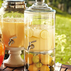 Decorator's Drink Dispenser - As a host, you often end up working more then sharing a party with your friends. Forget serving and go family style — including your drinks. I absolutely love thi glass drink dispenser. Create flavored water or a chic cocktail. And when you are not using them to entertain, turn your dispenser into a bowl or vase