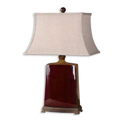 Uttermost - Baalon Burgundy Table Lamp - You'll ring all the bells with this bell-shaped lampshade that sits atop a glazed porcelain base. Draped in rich burgundy tones and accented with a burnt orange glaze, this table lamp makes an ideal addition to any Asian-inspired interior.