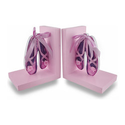 Zeckos - Light Pink and Purple Ballet Shoes with Ribbon Accent Bookends Set of 2 - Pretty, pink and purple, oh my This pair of ballet shoe bookends adds a decorative accent to any ballerina's room, and features real ribbon bow accents Crafted from pressed wood, a pair of pink and purple cut-out ballet pointe shoes are mounted on a light baby pink base, and each piece measures 6.25 inches high (16 cm), 4.5 inches wide (11 cm), and 4 inches deep (10 cm), and are great on shelves, bookcases, dressers or just to use as decorative accents. This set of pink ballet bookends makes a wonderful birthday, holiday or 'just because' gift sure to be adored
