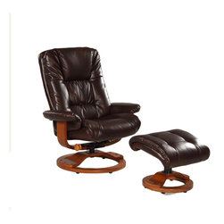 None - Memory Foam Brown Espresso Bonded Leather Comfort Chair with Ottoman - This extremely comfortable chair features a 360 degree swivel,multiple reclining positions and MX-2 memory foam. The gorgeous bonded leather upholstery is complemented by a warm walnut wood frame finish in a classic euro style.