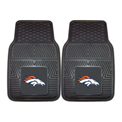 Fanmats - Fanmats Denver Broncos 2-piece Vinyl Car Mats - A universal fit makes this two-piece mat set ideal for cars, trucks, SUVs and RVs. The officially licensed Denver Broncos design in true team colors is permanently molded of vinyl for longevity.