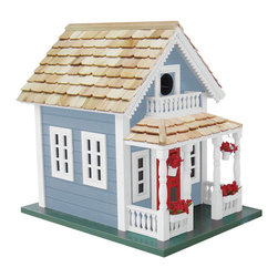 "Home Bazaar - Newburyport Cottage Birdhouse - Blue - Founded in 1764, Newburyport, Massachusetts has a long and rich history. It's a city that truly values its historic architecture such as the colorful, Victorian houses that grace the harbor. Our fully functional birdhouse, now available in a vibrant blue with white trim, has a front porch adorned with two flower boxes, two hanging flower pots and features a removable back wall, ventilation and drainage holes. Constructed of kiln-dried hardwood, topped with pine shingles and finished with an outdoor, water-based, non-toxic paint. Item Dimensions: 13.25"" H x 10"" W x 13.5"" D."