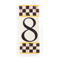 Courtly Check House Number - 8 | MacKenzie-Childs - If there's no second chance at a first impression, make yours count! Ceramic numbered tiles are bordered, top and bottom, with Courtly Checks and sunny yellow edges; flank each side with an end cap to finish the frame.