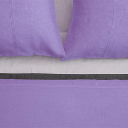 Area - Area Simone Purple Linen Duvet Cover - Soft, lightweight pure linen with decorative French seams. Duvet covers, sheets and cases.The bed linens are from a company called Area out of New York. Their products are designed by Anki Spets, with carefully chosen colors, one of a kind patterns and subtle details to create unique options.