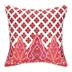 "Peking Handicraft Inc. - Nanette Lepore Moraccan Border Coral Embroidered Pillow 20"" x 20"" - ""DF 20X20"""" 100% RAMIE"""