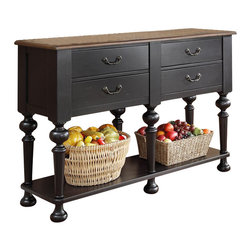 Riverside Furniture - Riverside Furniture Williamsport Server in Nutmeg/Kettle Black - Riverside Furniture - Buffet Tables and Sideboards - 92656