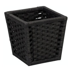 "Household Essentials - Paper Rope Tapered Basket Or Waste Bin - Black - Give your waste basket a touch of sophistication with the clean tapered lines and winsome beauty of the Paper Rope Collection.  Keep one in the den office living room or bathroom; the chic black paper enhances any décor.  Discover the effortless elegance of exchanging cumbersome plastic bins for natural breathable paper baskets.  Give nature a place in your home subtly; after all if we must have waste baskets they should be attractive. Dimensions: 9.65""h x 9.65""w x 9.65""d"