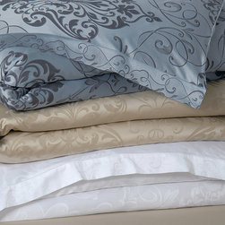 Frontgate - Ornato Duvet Cover - 100% cotton sateen woven in Italy. 600-thread count. Choose from several neutral colors. Pillowcases are sold separately. Machine Washable. The Ornato Sateen Bedding Collection is reminiscent of the sweeping beauty of Rome's most treasured architectural patterns. In this collection by Eastern Accents, a gently spiraling scroll and sharp color palette vitalizes its classic, traditional charm.  .  .  . .  . Because this bedding is specially made to order, please allow 4-6 weeks for delivery.. Fabrics woven in Italy; sewn in the U.S.A.