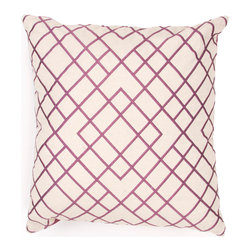 Jaipur Rugs - Handmade Cotton Purple/Ivory/White (20''x20'') Pillow - Modena is a cotton based pillow embroidered with geometric designs.  Add to a  bed or side chair for a great accent.