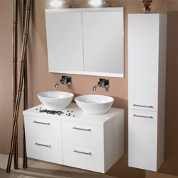 Iotti - 37 Inch Bathroom Vanity Set - Double vanity cabinets, basins and mirrors in contemporary styling and made in Italy to work hard for years. This is the vanity set for the modern, busy master bath. Choose among Glossy White, Wenge and Gray Oak finishes, all waterproof and beautiful. Oval raised white ceramic basins sit atop double drawer vanity cabinets, made with a soft close system for long life. Dual framed mirrors have five layer construction and easily resist scratches and corrosion. Set Includes: . Vanity Cabinets (4 drawers). (2) Vessel ceramic sink (16.1 inch x 5.5 inch x 13.4 inch each). (2) Vanity mirror (18.6 inch x 27.7 inch x 1 inch each). (2) Vanity light. Vanity Set Features:. Vanity cabinets made of engineered wood. Cabinets feature waterproof panels. Available in Glossy White (as shown), Gray Oak, Wenge. Cabinets feature 4 soft-closing drawers. Faucet not included. Perfect for modern bathrooms. Made and designed in Italy. Includes manufacturer 5 year warranty.