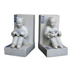 Golden Lotus - Unique Pair Chinese Porcelain Boy&Girl Book End Display - This is a pair of book end which is made of porcelain.