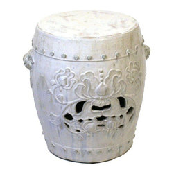 Pre-owned Flower Design Garden Stool - A ceramic garden stool with floral details, hand glazed and fired in a wood burning kiln giving each piece an individual look and making it a work of art. This garden stool makes for a beautiful accent table or extra seating for indoors or out!