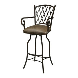 Pastel - Atrium Swivel Barstool with Arms in Autumn Rust - This swivel barstool features a quality metal frame with sturdy legs and foot rest finished in autumn rust. The padded seat is upholstered in florentine coffee offering comfort and style
